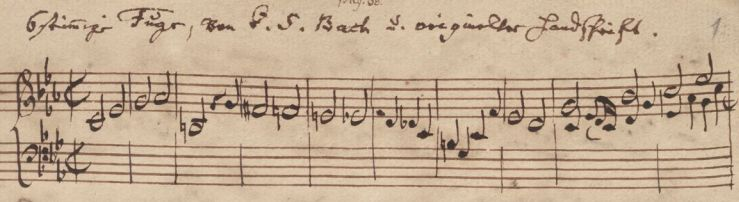 Bach ricercare - handschrift van Bach